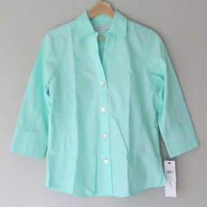 Foxcroft Mint 3/4 Sleeve Non-Iron Button up Shirt